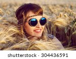 a beautiful hippie girl at... | Shutterstock . vector #304436591