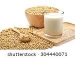 Isolated Soy Beans And Soy Mil...