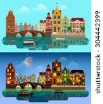Stock vector flat cartoon multicolor colorful historic buildings city town suburb set day and sunset night 304442399