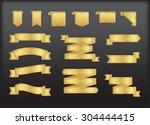 golden ribbons.golden ribbon... | Shutterstock .eps vector #304444415