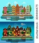 Stock vector flat cartoon multicolor colorful historic buildings city town suburb set day and sunset night 304444475