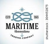 vintage maritime trading... | Shutterstock .eps vector #304452875