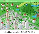 isometric landscapes with city ... | Shutterstock .eps vector #304472195