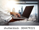 businessman working on his... | Shutterstock . vector #304479221