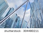 reflection of urban skyline on... | Shutterstock . vector #304480211