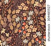 vector floral seamless pattern ...   Shutterstock .eps vector #304485527