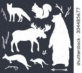 Wild Animals Vector Silhouette...