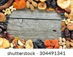 mix of dried fruits and nuts  ... | Shutterstock . vector #304491341