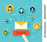 running email campaign  email... | Shutterstock .eps vector #304493687