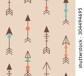 cute tribal geometric seamless... | Shutterstock .eps vector #304494695