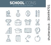 a set of school thin lined flat ...   Shutterstock .eps vector #304494701