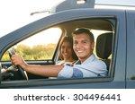 enjoying road trip together. | Shutterstock . vector #304496441