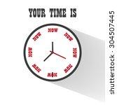 modern flat clock motivation...   Shutterstock .eps vector #304507445
