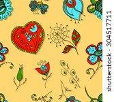 seamless floral pattern. hand... | Shutterstock .eps vector #304517711