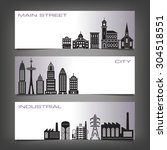 three building banners with... | Shutterstock .eps vector #304518551