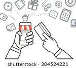 shopping via internet... | Shutterstock .eps vector #304524221