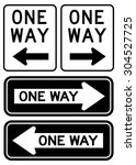 One Way Sign Set