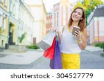 shopping day. coffee break.... | Shutterstock . vector #304527779