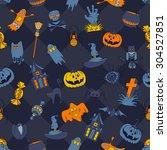 happy halloween retro styled... | Shutterstock .eps vector #304527851