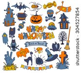 happy halloween icons set with... | Shutterstock .eps vector #304527854