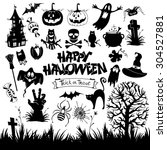 happy halloween designs set... | Shutterstock .eps vector #304527881