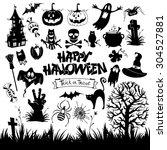 happy halloween designs set... | Shutterstock .eps vector #304527881