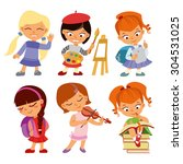 back to school.set of cute... | Shutterstock .eps vector #304531025