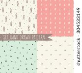 set of seamless patterns with... | Shutterstock .eps vector #304533149