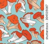 chanterelles pattern...   Shutterstock .eps vector #304535087