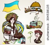 a set of drawings of ukrainian... | Shutterstock .eps vector #304538135