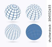 set of four frame planet sphere ... | Shutterstock .eps vector #304552655