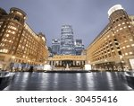 Cabot Square is one of the central squares of the Canary Wharf. This view including: Credit Suisse, Morgan Stanley, HSBC Tower, Canary Wharf Tower, Citigroup Centre, Reuters Building - stock photo