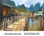 Landscape Painting Of Fishing...