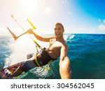 kiteboarding. fun in the ocean  ... | Shutterstock . vector #304562045