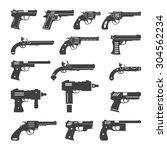 set of vector guns  handguns... | Shutterstock .eps vector #304562234