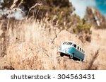 Cute Blue Retro Travelling Van. ...