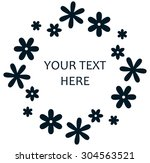 flower wreath logo retro design | Shutterstock .eps vector #304563521