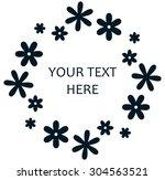 flower wreath logo retro design   Shutterstock .eps vector #304563521
