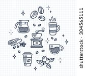 set of coffee drawings on lined ... | Shutterstock .eps vector #304565111