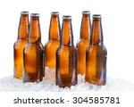 six pack of bottled beer with... | Shutterstock . vector #304585781