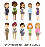 set of diverse businesswomen... | Shutterstock . vector #304586531