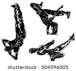 three modern dancers... | Shutterstock .eps vector #304596005