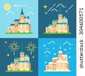 mont saint michel flat design... | Shutterstock .eps vector #304600571