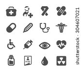 hospital and medical icon set ... | Shutterstock .eps vector #304607021