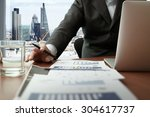 business documents on office... | Shutterstock . vector #304617737