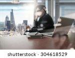designer hand working and smart ... | Shutterstock . vector #304618529