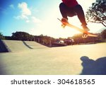 skateboarder legs ready to do a ... | Shutterstock . vector #304618565