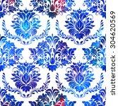 seamless watercolor damask...   Shutterstock . vector #304620569