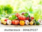 various fresh vegetables on... | Shutterstock . vector #304629227