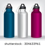 aluminum bottle water isolated... | Shutterstock .eps vector #304633961